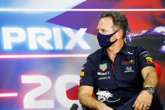 Christian Horner (GBR) Red Bull Racing Team Principal in the FIA Press Conference. 26.03.2021. Formula 1 World Championship, Rd 1, Bahrain Grand Prix, Sakhir, Bahrain, Practice Day - www.xpbimages.com, EMail: requests@xpbimages.com © Copyright: FIA Pool Image for Editorial Use Only