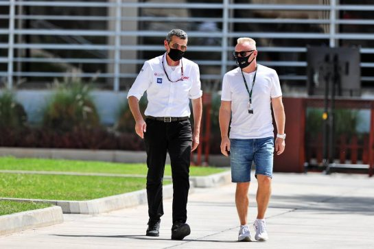 (L to R): Guenther Steiner (ITA) Haas F1 Team Prinicipal with Dmitry Mazepin (RUS) Uralchem Chairman.