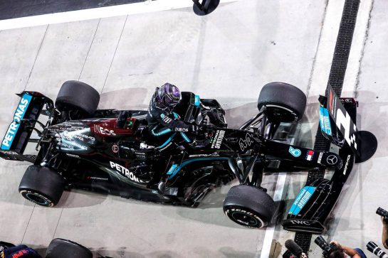 Race winner Lewis Hamilton (GBR) Mercedes AMG F1 W12 in parc ferme. 28.03.2021. Formula 1 World Championship, Rd 1, Bahrain Grand Prix, Sakhir, Bahrain, Race Day. - www.xpbimages.com, EMail: requests@xpbimages.com © Copyright: FIA Pool Image for Editorial Use Only