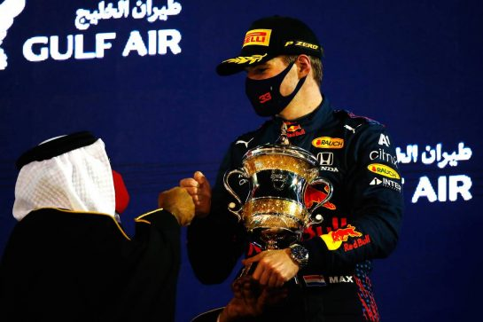 Max Verstappen (NLD) Red Bull Racing celebrates his second position on the podium. 28.03.2021. Formula 1 World Championship, Rd 1, Bahrain Grand Prix, Sakhir, Bahrain, Race Day. - www.xpbimages.com, EMail: requests@xpbimages.com © Copyright: FIA Pool Image for Editorial Use Only