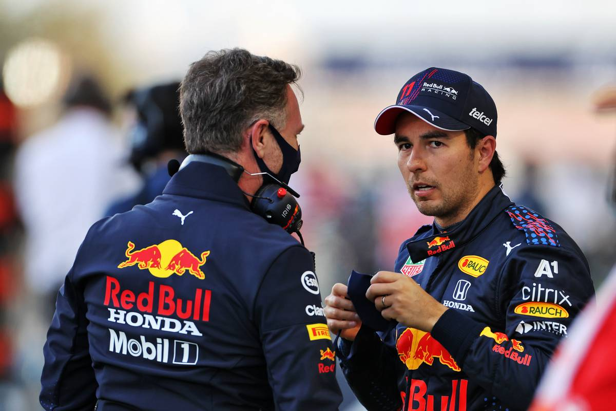 Christian Horner (GBR) Red Bull Racing Team Principal with Sergio Perez (MEX) Red Bull Racing on the grid. 28.03.2021. Formula 1 World Championship, Rd 1, Bahrain Grand Prix