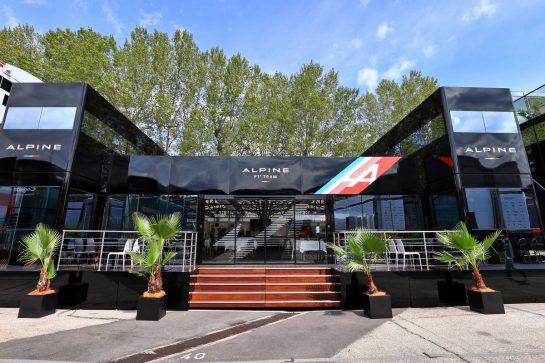 Alpine F1 Team motorhome in the paddock. 15.04.2021. Formula 1 World Championship, Rd 2, Emilia Romagna Grand Prix, Imola, Italy, Preparation Day. - www.xpbimages.com, EMail: requests@xpbimages.com © Copyright: Moy / XPB Images