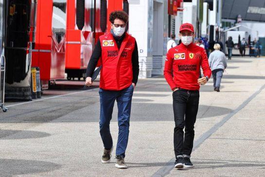(L to R): Mattia Binotto (ITA) Ferrari Team Principal with Charles Leclerc (MON) Ferrari. 15.04.2021. Formula 1 World Championship, Rd 2, Emilia Romagna Grand Prix, Imola, Italy, Preparation Day. - www.xpbimages.com, EMail: requests@xpbimages.com © Copyright: Moy / XPB Images