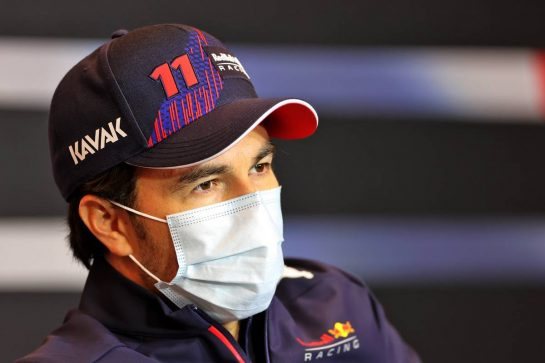 Sergio Perez (MEX) Red Bull Racing in the FIA Press Conference. 15.04.2021. Formula 1 World Championship, Rd 2, Emilia Romagna Grand Prix, Imola, Italy, Preparation Day. - www.xpbimages.com, EMail: requests@xpbimages.com © Copyright: Charniaux / XPB Images