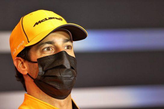 Daniel Ricciardo (AUS) McLaren in the FIA Press Conference. 15.04.2021. Formula 1 World Championship, Rd 2, Emilia Romagna Grand Prix, Imola, Italy, Preparation Day. - www.xpbimages.com, EMail: requests@xpbimages.com © Copyright: Charniaux / XPB Images
