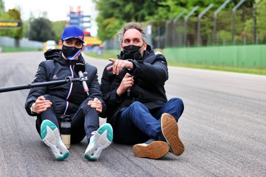 Esteban Ocon (FRA) Alpine F1 Team on the circuit with Frank Montangy (FRA) Canal+ TV Presenter. 15.04.2021. Formula 1 World Championship, Rd 2, Emilia Romagna Grand Prix, Imola, Italy, Preparation Day. - www.xpbimages.com, EMail: requests@xpbimages.com © Copyright: Moy / XPB Images