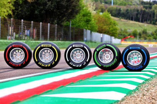 Circuit atmosphere - Pirelli show tyres. 15.04.2021. Formula 1 World Championship, Rd 2, Emilia Romagna Grand Prix, Imola, Italy, Preparation Day. - www.xpbimages.com, EMail: requests@xpbimages.com © Copyright: Moy / XPB Images