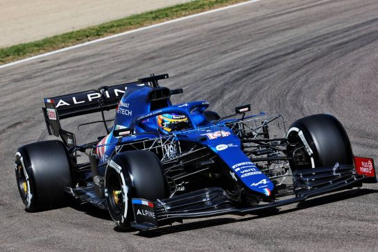 Fernando Alonso (ESP) Alpine F1 Team A521. 16.04.2021. Formula 1 World Championship, Rd 2, Emilia Romagna Grand Prix, Imola, Italy, Practice Day. - www.xpbimages.com, EMail: requests@xpbimages.com © Copyright: Batchelor / XPB Images