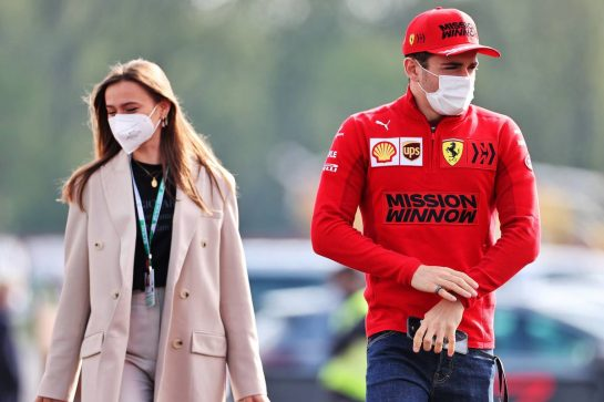 Charles Leclerc (MON) Ferrari with his girlfriend Charlotte Sine (MON). 16.04.2021. Formula 1 World Championship, Rd 2, Emilia Romagna Grand Prix, Imola, Italy, Practice Day. - www.xpbimages.com, EMail: requests@xpbimages.com © Copyright: Charniaux / XPB Images