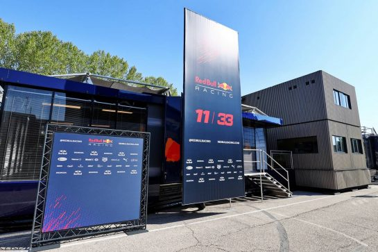 Red Bull Racing motorhome in the paddock. 16.04.2021. Formula 1 World Championship, Rd 2, Emilia Romagna Grand Prix, Imola, Italy, Practice Day. - www.xpbimages.com, EMail: requests@xpbimages.com © Copyright: Moy / XPB Images