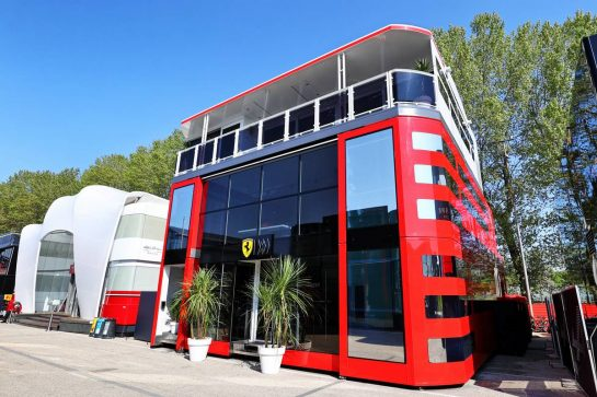 Ferrari motorhome in the paddock. 16.04.2021. Formula 1 World Championship, Rd 2, Emilia Romagna Grand Prix, Imola, Italy, Practice Day. - www.xpbimages.com, EMail: requests@xpbimages.com © Copyright: Moy / XPB Images