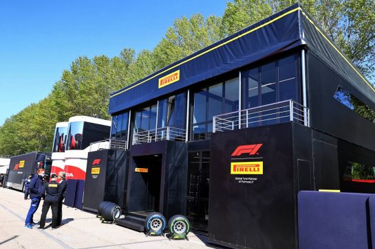 Pirelli motorhome in the paddock. 16.04.2021. Formula 1 World Championship, Rd 2, Emilia Romagna Grand Prix, Imola, Italy, Practice Day. - www.xpbimages.com, EMail: requests@xpbimages.com © Copyright: Moy / XPB Images