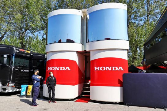 Honda motorhome in the paddock. 16.04.2021. Formula 1 World Championship, Rd 2, Emilia Romagna Grand Prix, Imola, Italy, Practice Day. - www.xpbimages.com, EMail: requests@xpbimages.com © Copyright: Moy / XPB Images