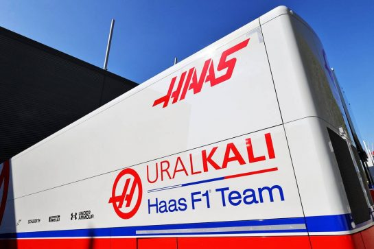 Haas F1 Team trucks in the paddock. 16.04.2021. Formula 1 World Championship, Rd 2, Emilia Romagna Grand Prix, Imola, Italy, Practice Day. - www.xpbimages.com, EMail: requests@xpbimages.com © Copyright: Moy / XPB Images