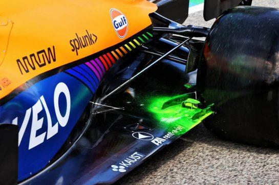McLaren MCL35M - flow-vis paint on the floor. 16.04.2021. Formula 1 World Championship, Rd 2, Emilia Romagna Grand Prix, Imola, Italy, Practice Day. - www.xpbimages.com, EMail: requests@xpbimages.com © Copyright: Moy / XPB Images