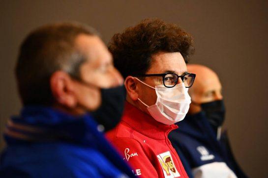 Mattia Binotto (ITA) Ferrari Team Principal in the FIA Press Conference. 16.04.2021. Formula 1 World Championship, Rd 2, Emilia Romagna Grand Prix, Imola, Italy, Practice Day. - www.xpbimages.com, EMail: requests@xpbimages.com © Copyright: FIA Pool Image for Editorial Use Only