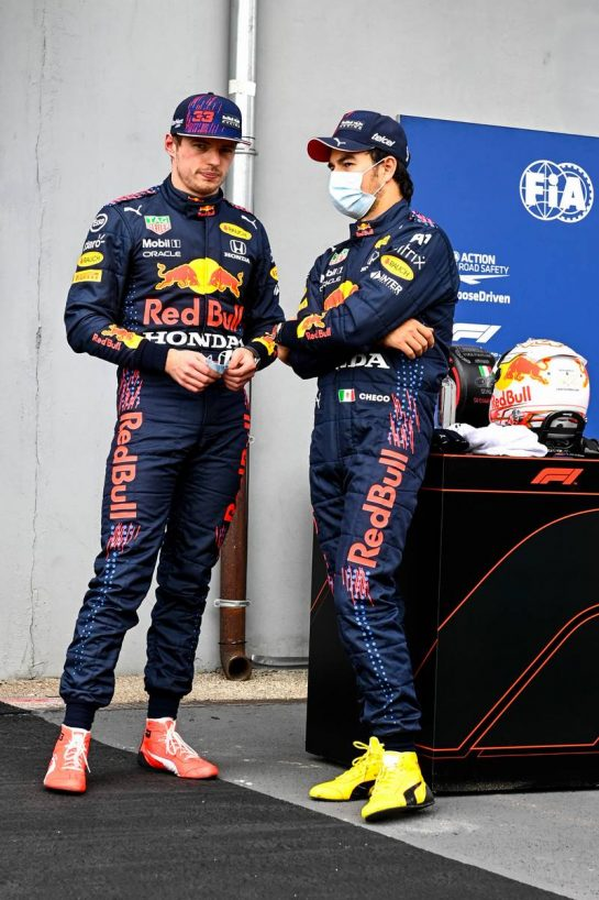 (L to R): Third placed Max Verstappen (NLD) Red Bull Racing with second placed team mate Sergio Perez (MEX) Red Bull Racing in qualifying parc ferme. 17.04.2021. Formula 1 World Championship, Rd 2, Emilia Romagna Grand Prix, Imola, Italy, Qualifying Day. - www.xpbimages.com, EMail: requests@xpbimages.com © Copyright: FIA Pool Image for Editorial Use Only
