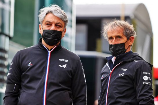 (L to R): Luca de Meo (ITA) Groupe Renault Chief Executive Officer with Alain Prost (FRA) Alpine F1 Team Non-Executive Director. 17.04.2021. Formula 1 World Championship, Rd 2, Emilia Romagna Grand Prix, Imola, Italy, Qualifying Day. - www.xpbimages.com, EMail: requests@xpbimages.com © Copyright: Moy / XPB Images