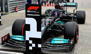 Pole sitter Lewis Hamilton (GBR) Mercedes AMG F1 W12 in qualifying parc ferme. 17.04.2021. Formula 1 World Championship, Rd 2, Emilia Romagna Grand Prix, Imola