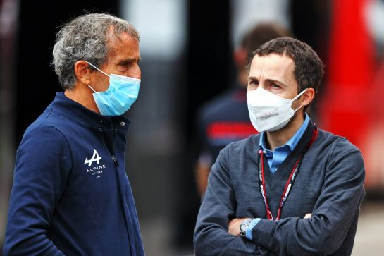 (L to R): Alain Prost (FRA) Alpine F1 Team Non-Executive Director with Nicolas Todt (FRA) Driver Manager. 18.04.2021. Formula 1 World Championship, Rd 2, Emilia Romagna Grand Prix, Imola, Italy, Race Day. - www.xpbimages.com, EMail: requests@xpbimages.com © Copyright: Moy / XPB Images