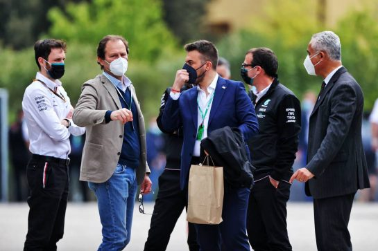 Aldo Costa (ITA) Dallara Chief Technical Officer (Second left). 18.04.2021. Formula 1 World Championship, Rd 2, Emilia Romagna Grand Prix, Imola, Italy, Race Day. - www.xpbimages.com, EMail: requests@xpbimages.com © Copyright: Moy / XPB Images