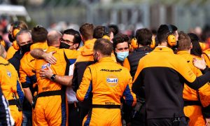 McLaren celebrates third position for Lando Norris (GBR) McLaren at the end of the race. 18.04.2021. Formula 1 World Championship, Rd 2, Emilia Romagna Grand Prix, Imola