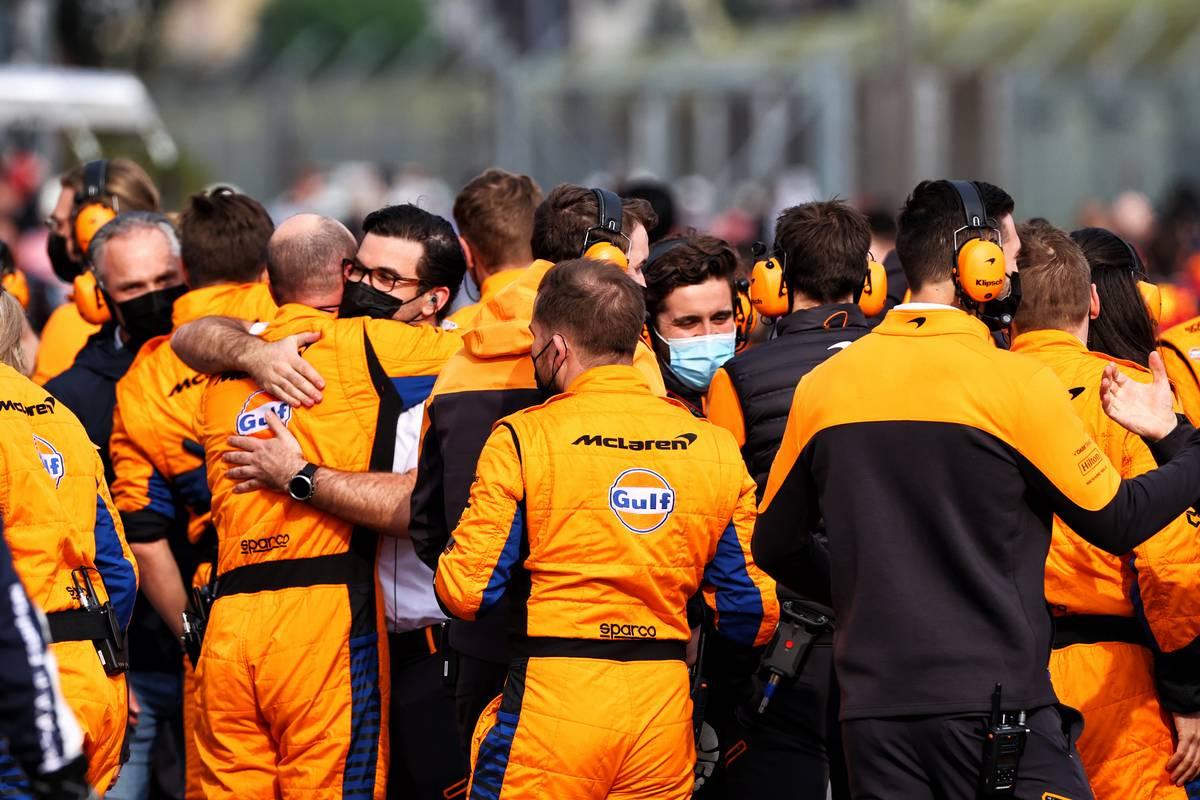McLaren celebrates third position for Lando Norris (GBR) McLaren at the end of the race. 18.04.2021. Formula 1 World Championship, Rd 2, Emilia Romagna Grand Prix, Imola