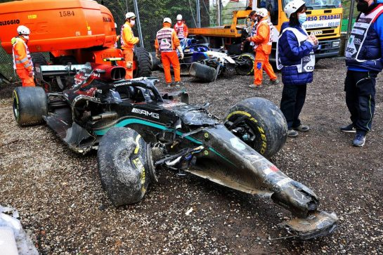 The damaged Mercedes AMG F1 W12 of Valtteri Bottas (FIN) and George Russell (GBR) Williams Racing FW43B, who crashed out of the race. 18.04.2021. Formula 1 World Championship, Rd 2, Emilia Romagna Grand Prix, Imola, Italy, Race Day. - www.xpbimages.com, EMail: requests@xpbimages.com © Copyright: Batchelor / XPB Images
