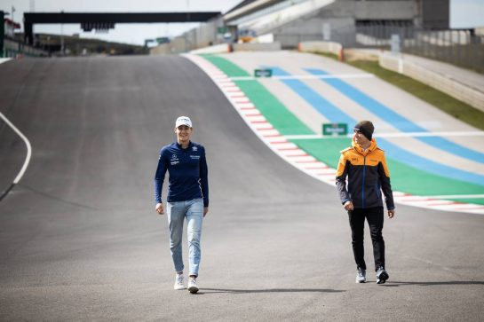 (L to R): George Russell (GBR) Williams Racing walks the circuit with Lando Norris (GBR) McLaren.