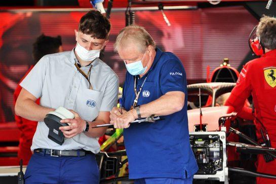 Jo Bauer (GER) FIA Delegate (Right). 29.04.2021. Formula 1 World Championship, Rd 3, Portuguese Grand Prix, Portimao, Portugal, Preparation Day. - www.xpbimages.com, EMail: requests@xpbimages.com © Copyright: Batchelor / XPB Images
