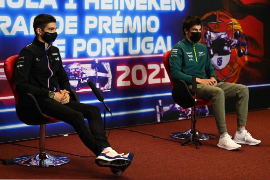 (L to R): Esteban Ocon (FRA) Alpine F1 Team and Lance Stroll (CDN) Aston Martin F1 Team in the FIA Press Conference. 29.04.2021. Formula 1 World Championship, Rd 3, Portuguese Grand Prix, Portimao, Portugal, Preparation Day. - www.xpbimages.com, EMail: requests@xpbimages.com © Copyright: FIA Pool Image for Editorial Use Only