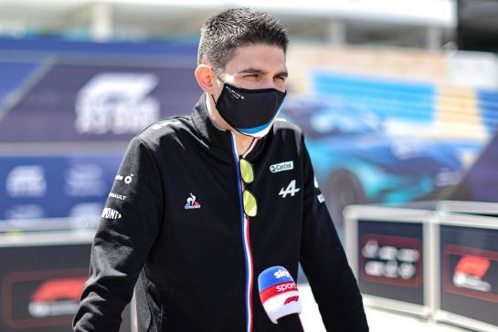 Esteban Ocon (FRA) Alpine F1 Team with the media.