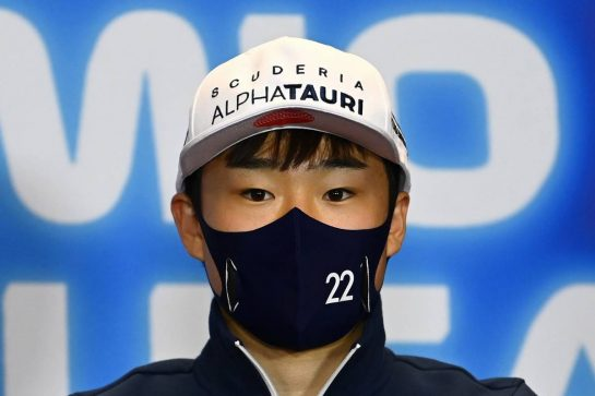 Yuki Tsunoda (JPN) AlphaTauri in the FIA Press Conference. 29.04.2021. Formula 1 World Championship, Rd 3, Portuguese Grand Prix, Portimao, Portugal, Preparation Day. - www.xpbimages.com, EMail: requests@xpbimages.com © Copyright: FIA Pool Image for Editorial Use Only