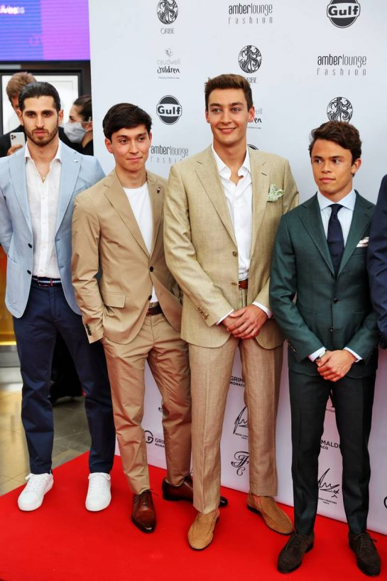 (L to R): Antonio Giovinazzi (ITA) Alfa Romeo Racing; Jack Aitken (GBR) / (KOR) Williams Racing Reserve Driver; George Russell (GBR) Williams Racing; Nyck de Vries (NLD) Mercedes AMG F1 Reserve Driver, at the Amber Lounge Fashion Show. 21.05.2021. Formula 1 World Championship, Rd 5, Monaco Grand Prix, Monte Carlo, Monaco, Friday. - www.xpbimages.com, EMail: requests@xpbimages.com © Copyright: Batchelor / XPB Images