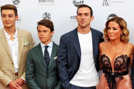 (L to R): George Russell (GBR) Williams Racing; Nyck de Vries (NLD) Mercedes AMG F1 Reserve Driver; Nicholas Latifi (CDN) Williams Racing; and Natalie Pinkham (GBR) Sky Sports Presenter, at the Amber Lounge Fashion Show. 21.05.2021. Formula 1 World Championship, Rd 5, Monaco Grand Prix, Monte Carlo, Monaco, Friday. - www.xpbimages.com, EMail: requests@xpbimages.com © Copyright: Batchelor / XPB Images