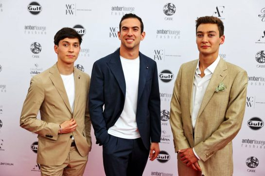 (L to R): Jack Aitken (GBR) / (KOR) Williams Racing Reserve Driver; Nicholas Latifi (CDN) Williams Racing; and George Russell (GBR) Williams Racing, at the Amber Lounge Fashion Show. 21.05.2021. Formula 1 World Championship, Rd 5, Monaco Grand Prix, Monte Carlo, Monaco, Friday. - www.xpbimages.com, EMail: requests@xpbimages.com © Copyright: Batchelor / XPB Images