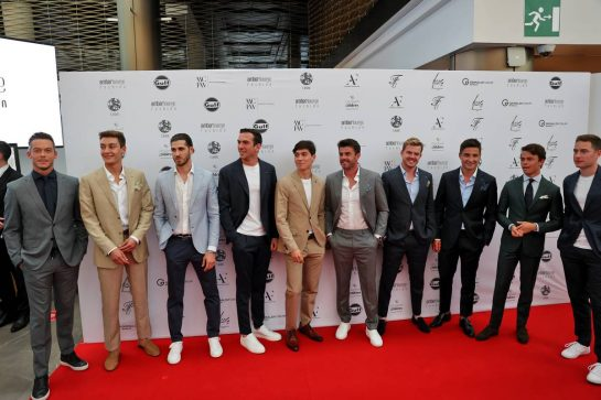 (L to R): Antonio Giovinazzi (ITA) Alfa Romeo Racing; Jack Aitken (GBR) / (KOR) Williams Racing Reserve Driver; George Russell (GBR) Williams Racing; Nyck de Vries (NLD) Mercedes AMG F1 Reserve Driver, Jack Aitken (GBR) / (KOR) Williams Racing Reserve Driver; George Russell (GBR) Williams Racing; Natalie Pinkham (GBR) Sky Sports Presenter; Nick Cassidy (NZL) Formula E Driver; Norman Nato (FRA) Formula E Driver; Stoffel Vandoorne (BEL) Mercedes AMG F1 Reserve Driver; Mitch Evans (NZL) Formula E Driver; Andre Lotterer (GER), at the Amber Lounge Fashion Show. 21.05.2021. Formula 1 World Championship, Rd 5, Monaco Grand Prix, Monte Carlo, Monaco, Friday. - www.xpbimages.com, EMail: requests@xpbimages.com © Copyright: Batchelor / XPB Images