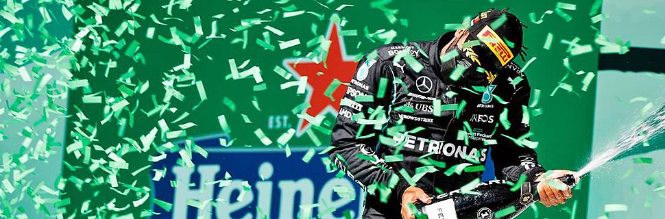 Race winner Lewis Hamilton (GBR) Mercedes AMG F1 celebrates on the podium. 02.05.2021. Formula 1 World Championship, Rd 3, Portuguese Grand Prix, Portimao