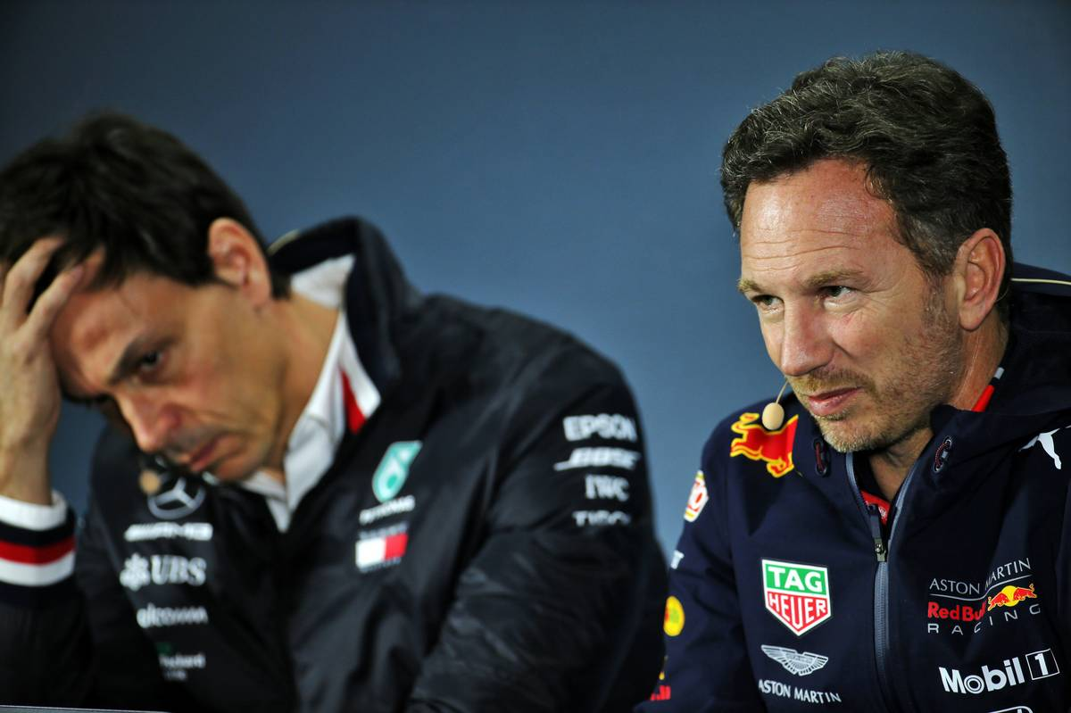 Toto Wolff (GER) Mercedes AMG F1 Shareholder and Executive Director and Christian Horner (GBR) Red Bull Racing Team Principal in the FIA Press Conference.