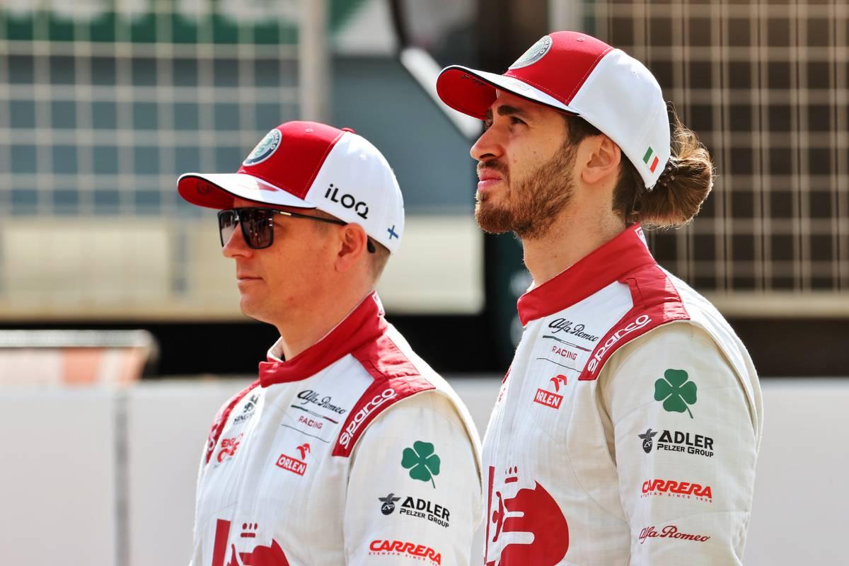 Kimi Raikkonen (FIN) Alfa Romeo Racing and Antonio Giovinazzi (ITA) Alfa Romeo Racing. 12.03.2021. Formula 1 Testing, Sakhir, Bahrain