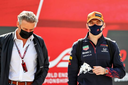 Max Verstappen (NLD) Red Bull Racing with Raymond Vermeulen (NLD) Driver Manager. 01.05.2021. Formula 1 World Championship, Rd 3, Portuguese Grand Prix, Portimao, Portugal, Qualifying Day. - www.xpbimages.com, EMail: requests@xpbimages.com © Copyright: Batchelor / XPB Images