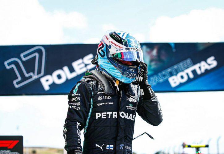 Valtteri Bottas (FIN) Mercedes AMG F1 celebrates his pole position in qualifying parc ferme. 01.05.2021. Formula 1 World Championship, Rd 3, Portuguese Grand Prix, Portimao