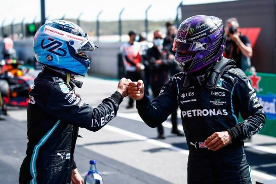 (L to R): Valtteri Bottas (FIN) Mercedes AMG F1 celebrates his pole position in qualifying parc ferme with second placed team mate Lewis Hamilton (GBR) Mercedes AMG F1. 01.05.2021. Formula 1 World Championship, Rd 3, Portuguese Grand Prix, Portimao, Portugal, Qualifying Day. - www.xpbimages.com, EMail: requests@xpbimages.com © Copyright: FIA Pool Image for Editorial Use Only