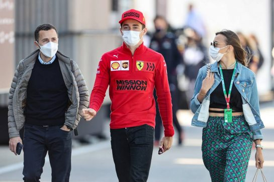 (L to R): Nicolas Todt (FRA) Driver Manager with Charles Leclerc (MON) Ferrari and Charlotte Sine (MON). 02.05.2021. Formula 1 World Championship, Rd 3, Portuguese Grand Prix, Portimao, Portugal, Race Day. - www.xpbimages.com, EMail: requests@xpbimages.com © Copyright: Charniaux / XPB Images