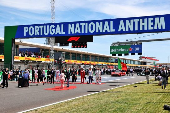 Grid atmosphere - drivers as the grid observes the national anthem. 02.05.2021. Formula 1 World Championship, Rd 3, Portuguese Grand Prix, Portimao, Portugal, Race Day. - www.xpbimages.com, EMail: requests@xpbimages.com © Copyright: Batchelor / XPB Images