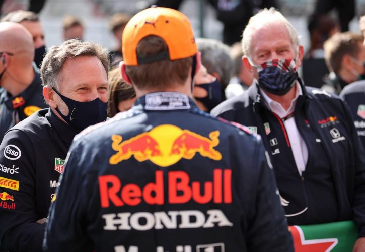 Christian Horner (GBR) Red Bull Racing Team Principal and Max Verstappen (NLD) Red Bull Racing. 02.05.2021. Formula 1 World Championship, Rd 3, Portuguese Grand Prix, Portimao
