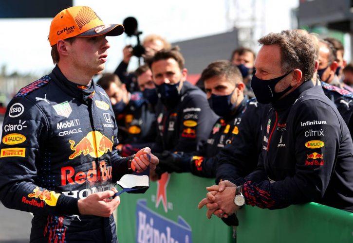 Max Verstappen (NLD) Red Bull Racing and Christian Horner (GBR) Red Bull Racing Team Principal. 02.05.2021. Formula 1 World Championship, Rd 3, Portuguese Grand Prix, Portimao