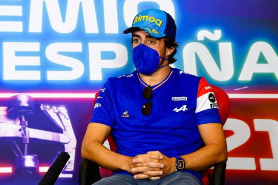 Fernando Alonso (ESP) Alpine F1 Team in the FIA Press Conference. 06.05.2021. Formula 1 World Championship, Rd 4, Spanish Grand Prix, Barcelona, Spain, Preparation Day. - www.xpbimages.com, EMail: requests@xpbimages.com © Copyright: FIA Pool Image for Editorial Use Only