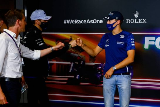 (L to R): Esteban Ocon (FRA) Alpine F1 Team and George Russell (GBR) Williams Racing in the FIA Press Conference. 06.05.2021. Formula 1 World Championship, Rd 4, Spanish Grand Prix, Barcelona, Spain, Preparation Day. - www.xpbimages.com, EMail: requests@xpbimages.com © Copyright: FIA Pool Image for Editorial Use Only