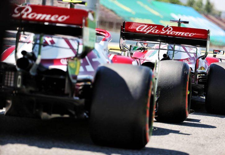 Kimi Raikkonen (FIN) Alfa Romeo Racing C41 and Antonio Giovinazzi (ITA) Alfa Romeo Racing C41. 08.05.2021. Formula 1 World Championship, Rd 4, Spanish Grand Prix, Barcelona